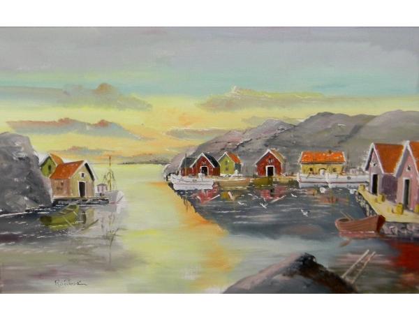 Картина маслом Портовый город R.Söderström, AM1378