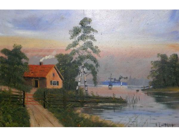 Картина Баня на берегу озера, AM0766
