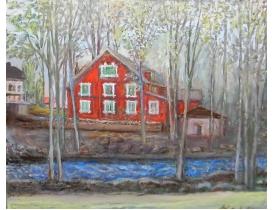 Картина Клубное здание на берегу реки