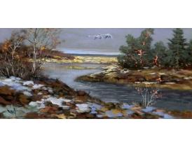 Картина маслом Осень и лебеди Bertil Vidbrant