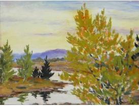 Картина маслом Осень и ручей