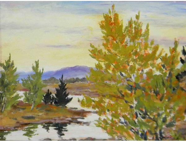 Картина маслом Осень и ручей, AM1201