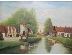 Картина Летнее поместье на берегу реки