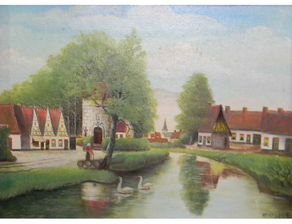 Картина Летнее поместье на берегу реки, AM0561