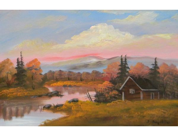 Картина маслом Хутор на берегу реки S Aspelin, AM1284