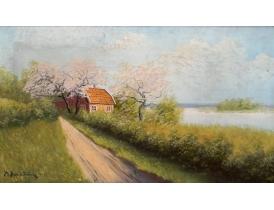 Картина маслом Хутор весной Sandström 1912