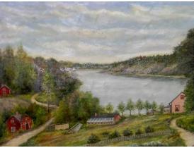 Картина Хутор на склоне горы и бергу озера