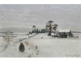 Картина маслом Хутор зимой Lingwall 1997