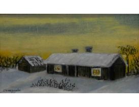 Картина маслом Хутор зимой Sven Ekström 1935