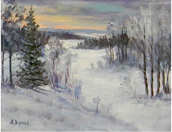 Картина Зимяя природа на склоне горы, AM0803