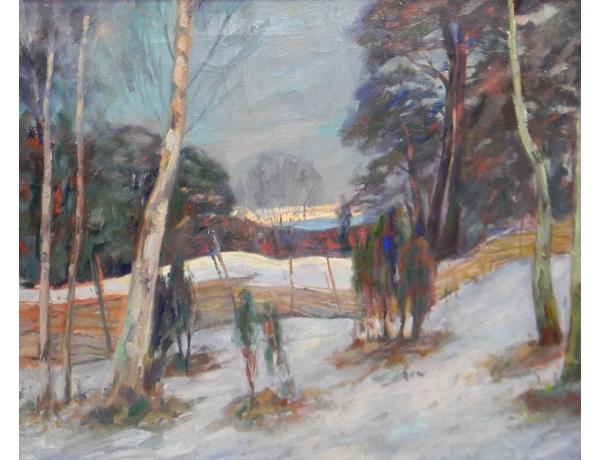 Картина маслом Зимний пейзаж на склоне горы, AM1397