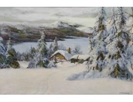 Картина маслом Зимний пейзаж S. Stenmark