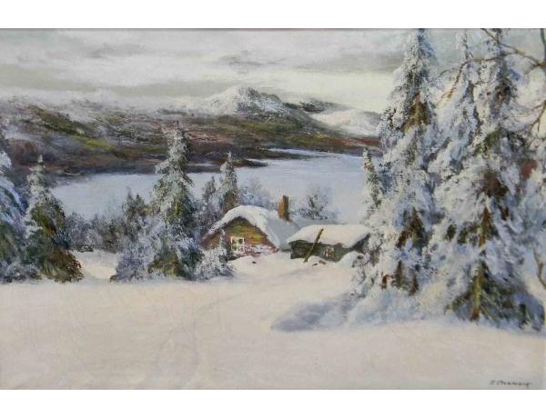 Картина маслом Зимний пейзаж S. Stenmark, AM1210