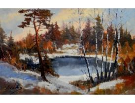 Картина Зимний пруд в лесу