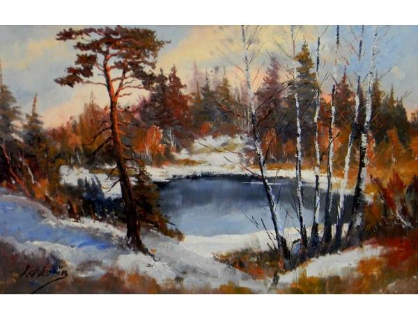 Картина Зимний пруд в лесу, AM0829
