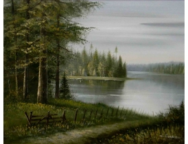Картина маслом Дорога на берегу озера M. Benson