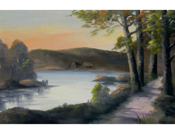 Картина маслом Дорога на берегу реки, AM1189