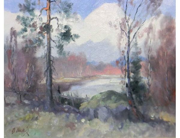 Картина Лесной пруд, AM0563