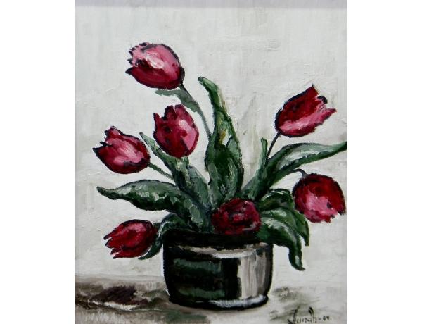 Картина маслом Тюльпаны J Lundh 1984, AM1417