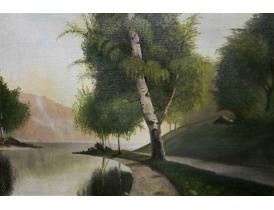 Картина Одинокая берёза на берегу реки