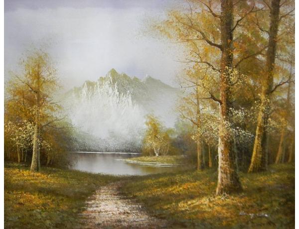 Картина маслом Вид на гору осенью, AM1260