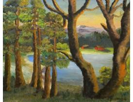 Картина маслом Вид из лесу 1955 года