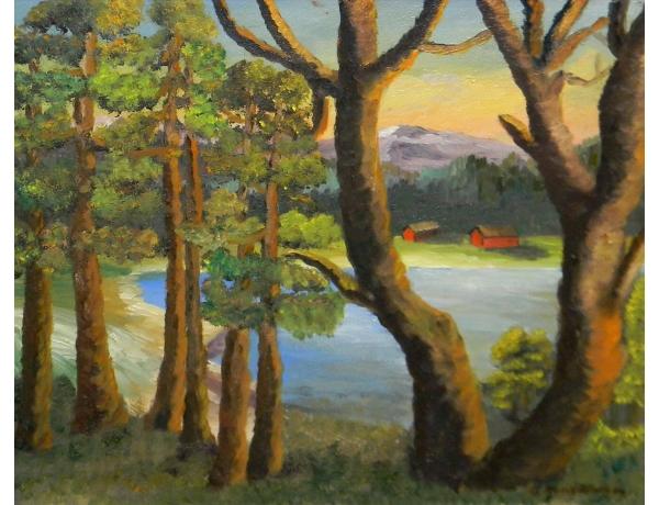Картина маслом Вид из лесу 1955 года, AM1398
