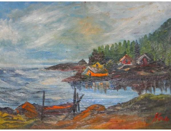 Картина Маленький хутор на берегу моря, AM0635
