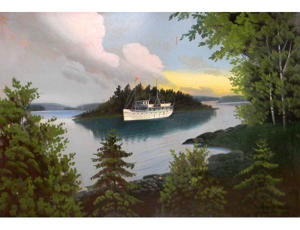 Картина Белый паром на озере, AM0487