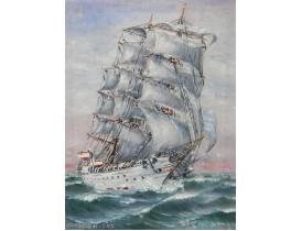 Картина маслом Белый парусник и океан