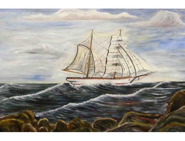 Õlimaal Valge purjekas merel, AM1060