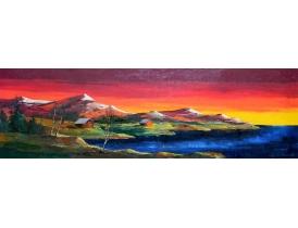 Картина Амбары на берегу озера