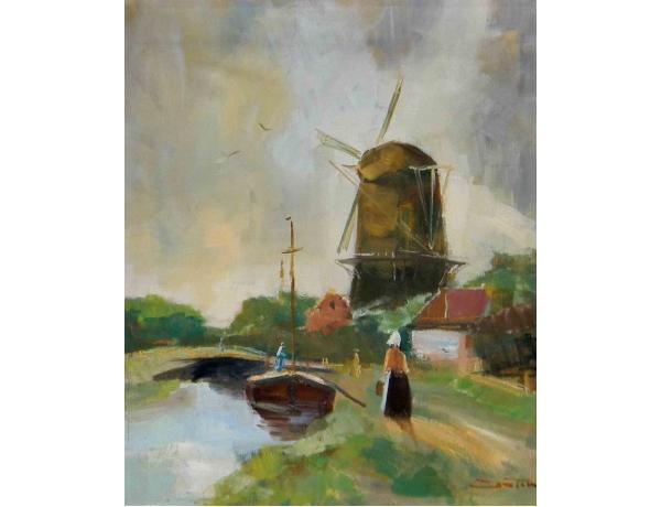 Картина Мельница на берегу реки, AM0925