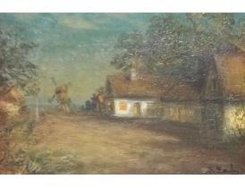 Картина Мельница в летней деревне