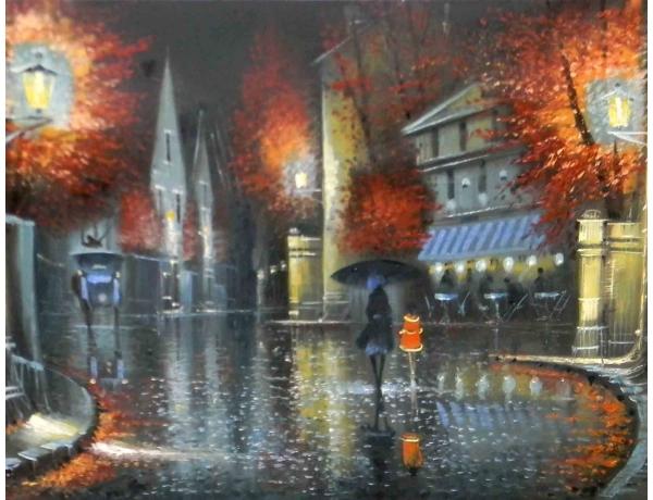 Картина маслом Дождливый вечер, AM1157
