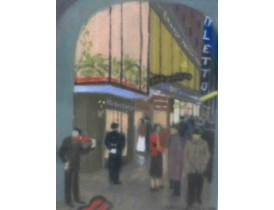 Картина пастелью Возле клуба