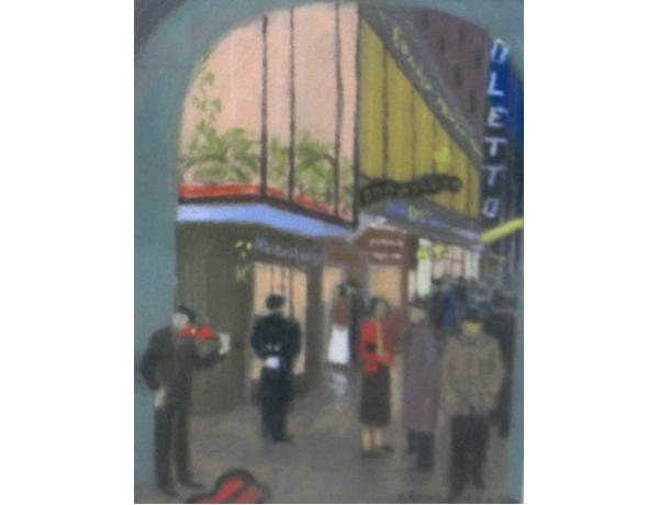 Картина пастелью Возле клуба, AM1193