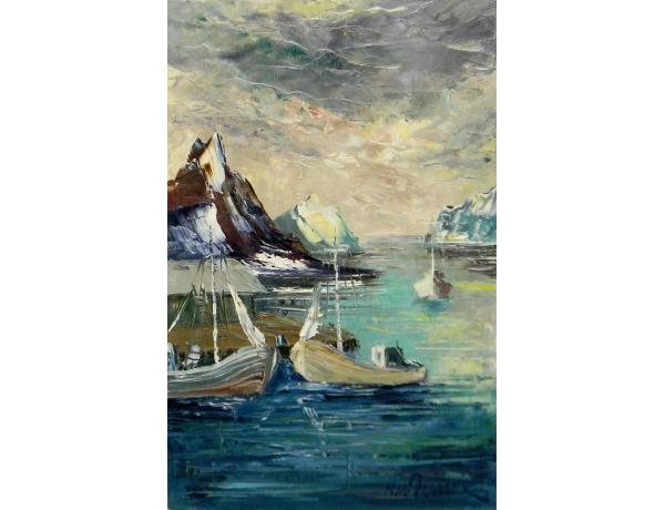 Картина маслом без рамы Лодки и зимнее море, AM1420