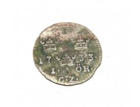Шведская серебряная монета один ÖRE 1733 года
