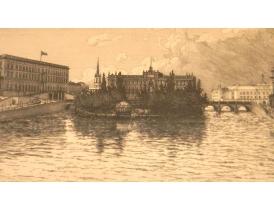 Настенная картина Поместье на берегу реки