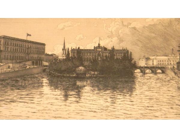 Настенная картина Поместье на берегу реки, AM1352