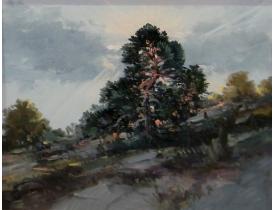 Tundmatu kunstniku õlimaal Puu tiigi kaldal